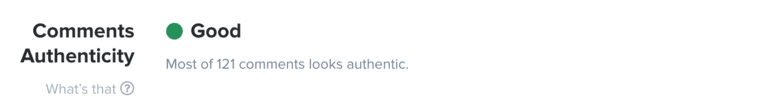 Comment Authenticity in HypeAuditor