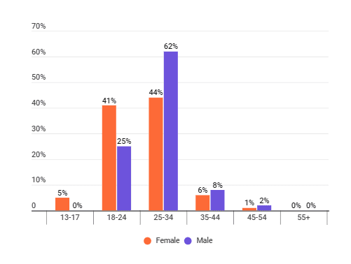 The distribution of age groups among zero waste influencers