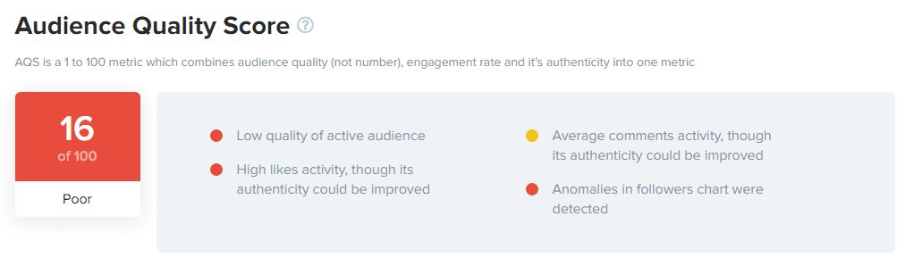 Audience Quality Score  at HypeAuditor Instagram Report