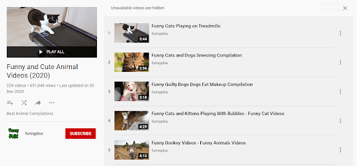 Check most liked playlists on YouTube