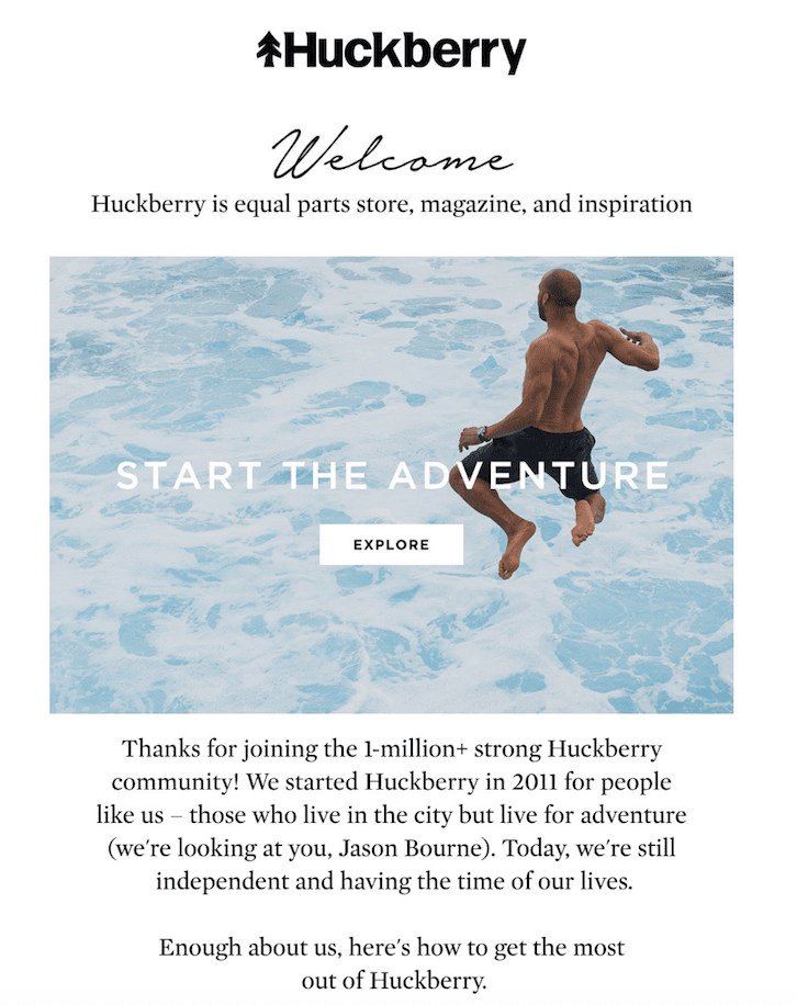 Welcome Email Examples: Huckberry's Welcome Email