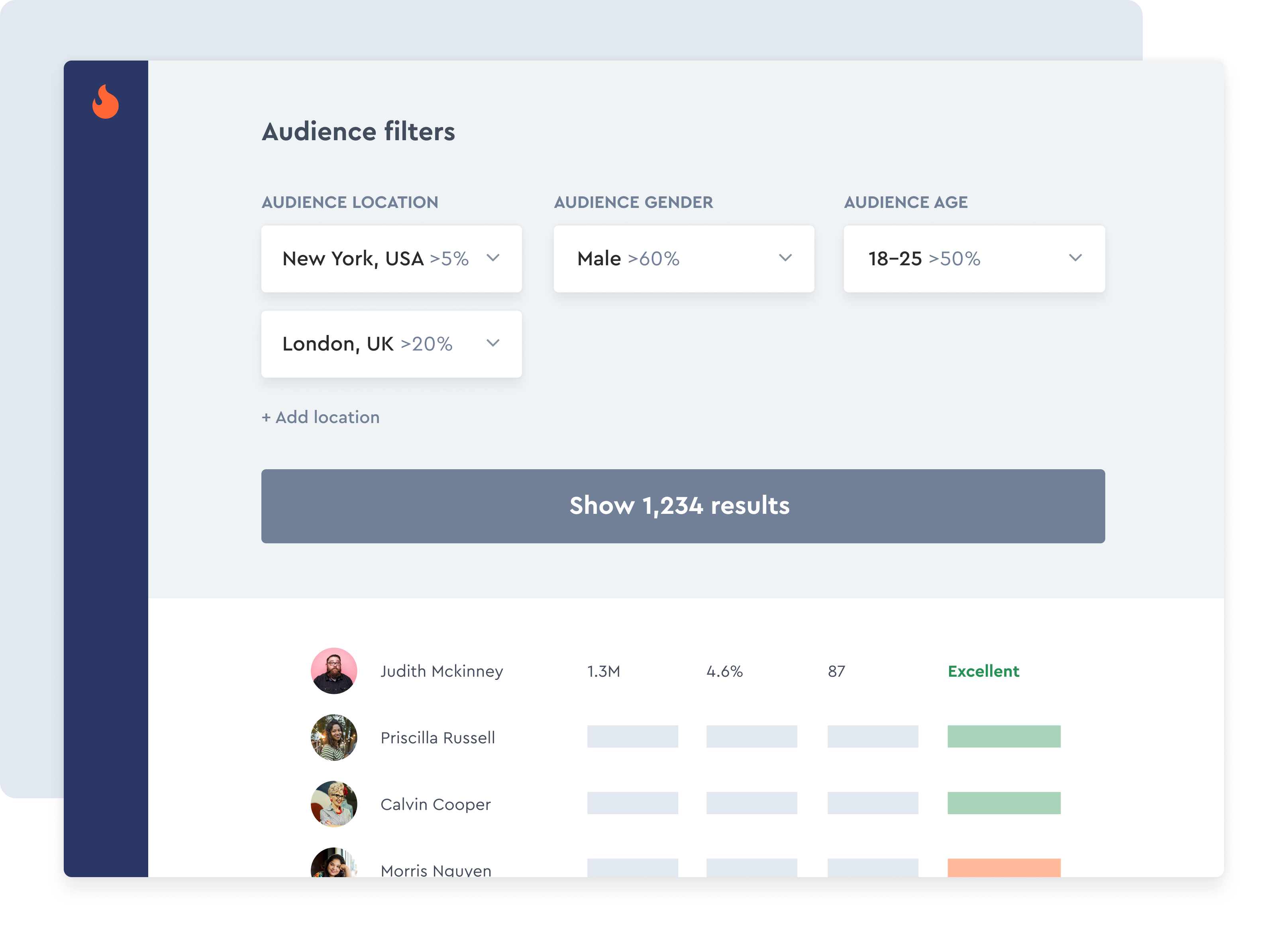 Audience demographics filters